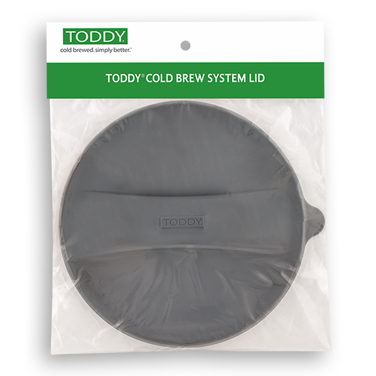 close up shot of Toddy cold brew system lid with hangtag front