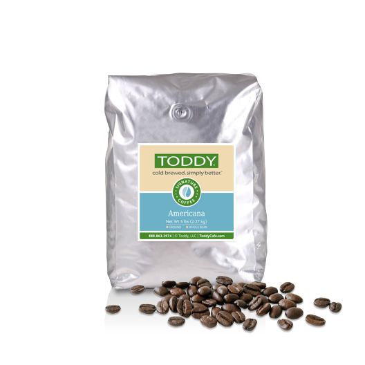 Five pound bag of whole bean Toddy cold brew coffee in Americana flavor