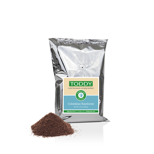 Twelve Ounce bag of Toddy cold brew coffee in Colombian Rainforest flavor