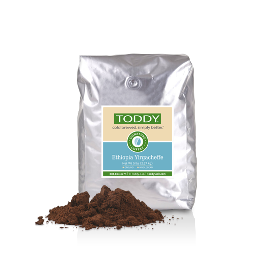 Five pound bag of Ground Toddy cold brew coffee in Ethiopia Yirgacheffe flavor