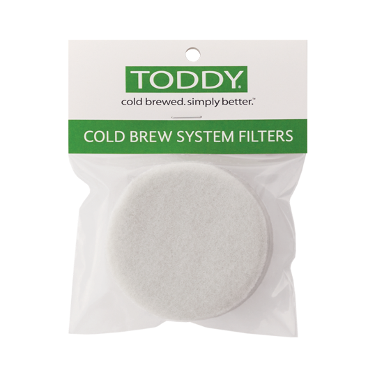 close up shot of Toddy cold brew system felt filters in a pack of two