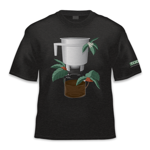 close up shot of Toddy coffee cherry merchandise tshirt