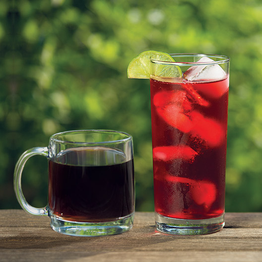 side by side photo of a glass of cold brew coffee and hibiscus tea over ice with a lime wedge on the rim sitting on a table outside