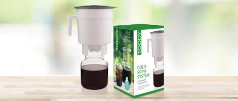 Toddy Cold Brew System on counter with box