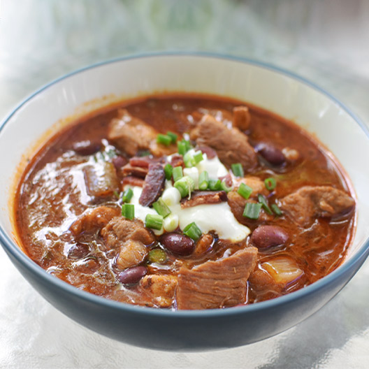 Toddy cold brew recipes spicy pork and bean chili in a bowl
