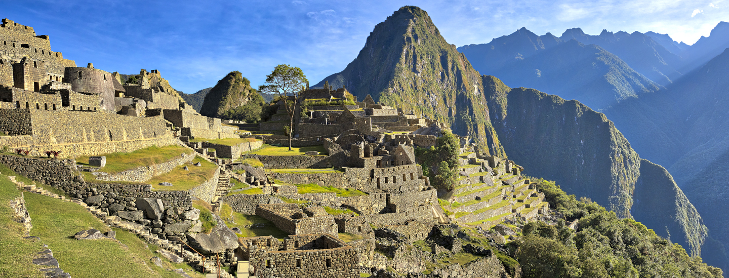 Macchu Piccu Peru with Mountains in background