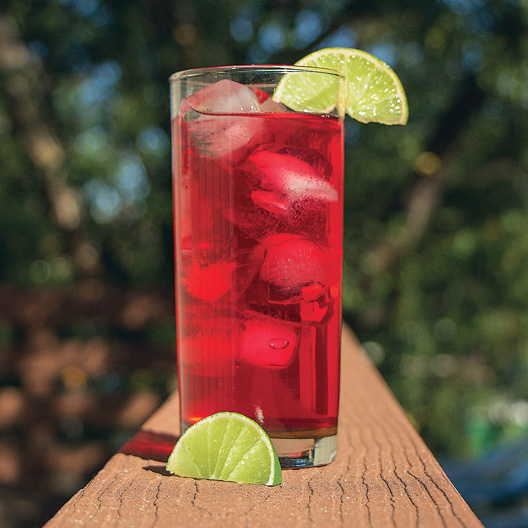 a clear glass of hibiscus cooler served over ice with a lime wedge